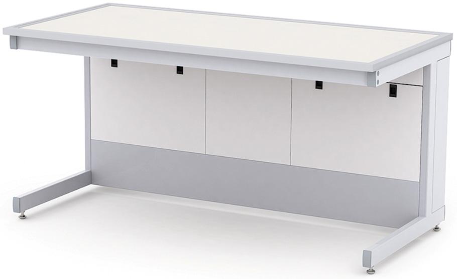 Изображение стола для лаборатории с поверхностью из двухслойного пластика, окантованного металлической полоской