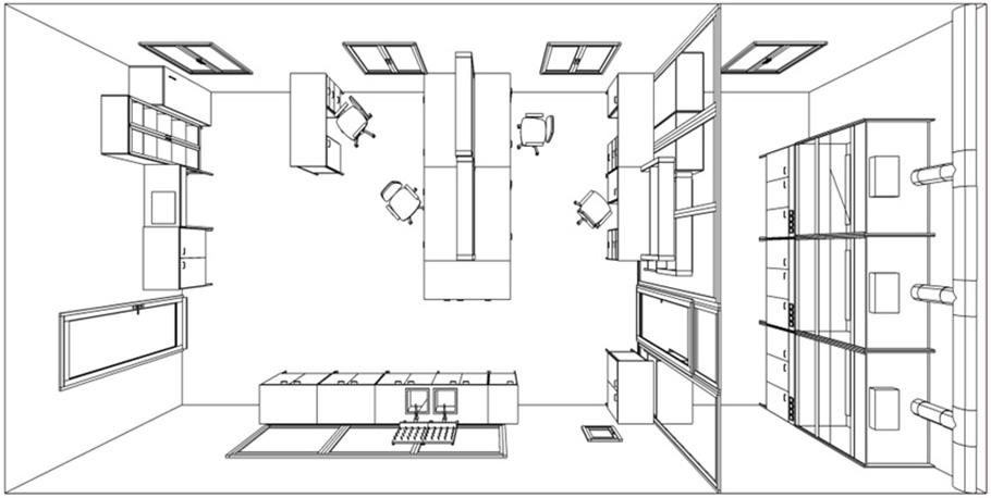 Схематическое расположение лабораторной мебели