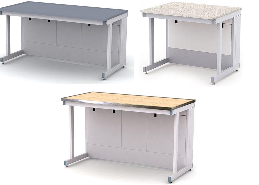 Изображение столов для лабораторий, нескольких типов, соединенных в один комплекс